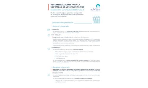 Recomendaciones de seguridad para voluntarios (COVID-19)